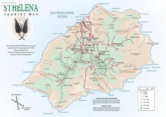 Карта острова Святой Елены