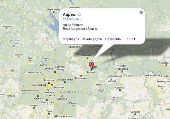 Ковров на карте России