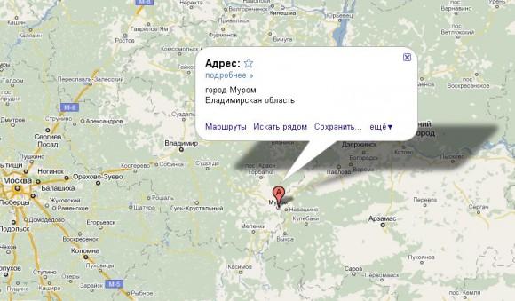Муром на карте России