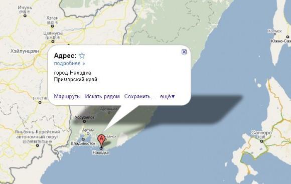 Находка на карте России