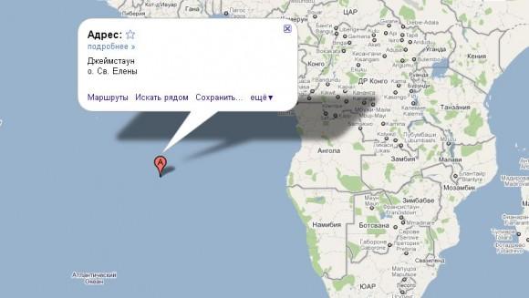Остров Святой Елены на карте