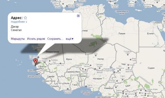 Сенегал на карте мира