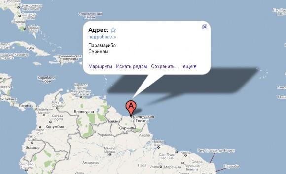 Суринам на карте мира