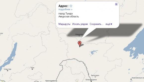 Тында на карте России