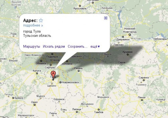 Тула на карте России