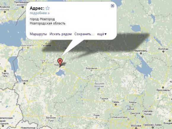 Великий Новгород на карте России