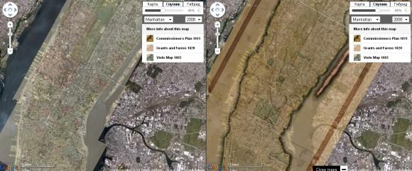 Исторические карты с Гугл картами