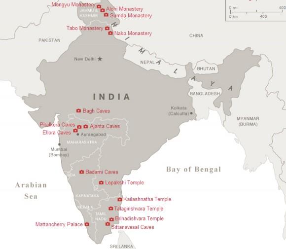 Древняя Индия пещеры карта