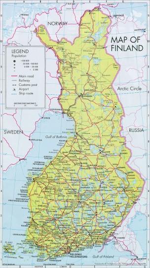 Карта дорог Финляндии