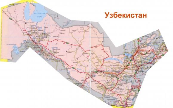 Карта дорог Узбекистана