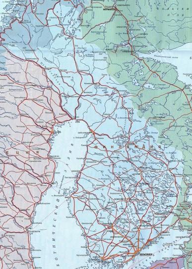 Карта Финляндии на русском