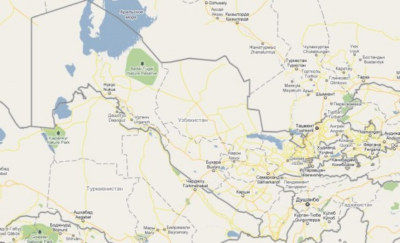 Карта городов Узбекистана
