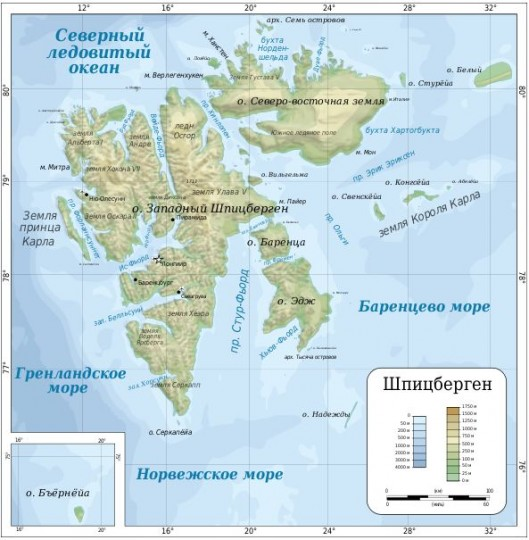 Карта острова Шпицберген