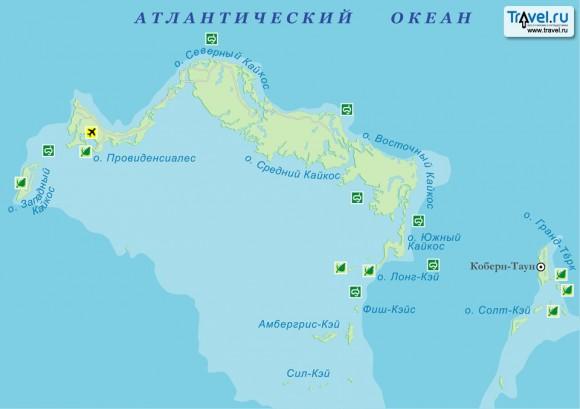 Карта Тёркс и Кайкос