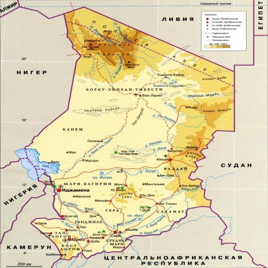 Карта Чада