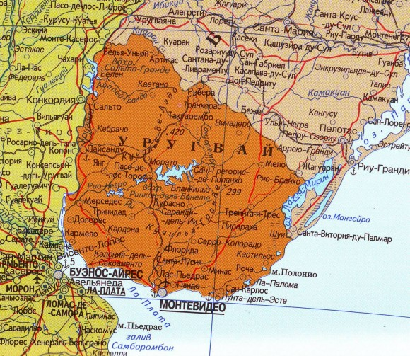 Карта Уругвая