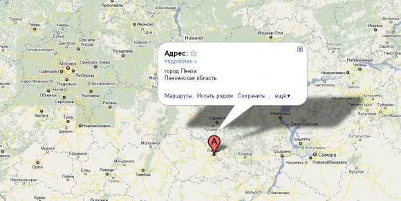 Пенза на карте России