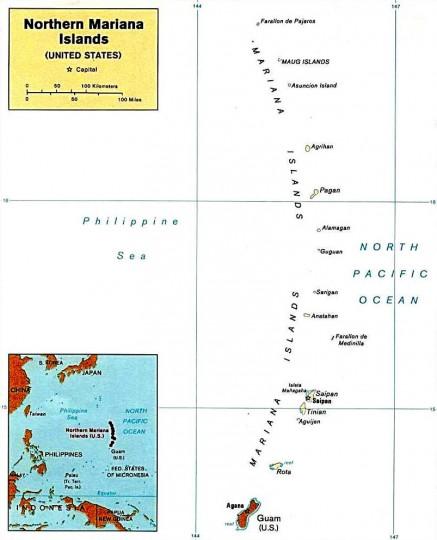 Северные Марианские острова. Карта