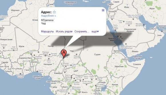 Чад на карте мира