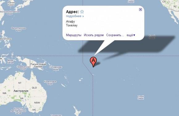 Токелау на карте мира