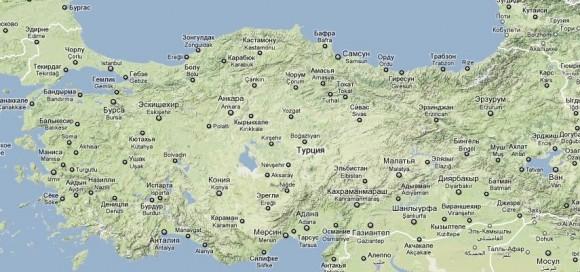 Турция. Карта побережья