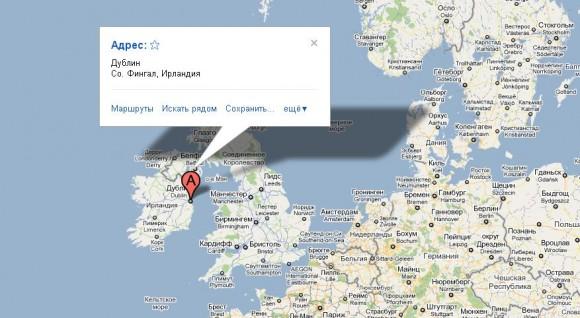 Дублин на карте