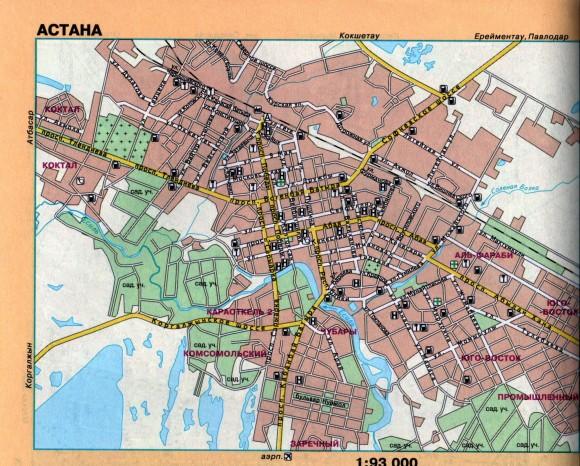 Карта Астаны с улицами