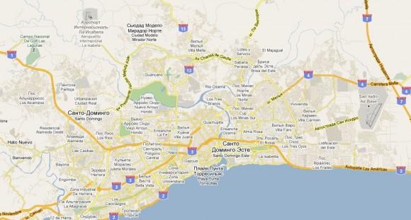 Карта Санто-Доминиго