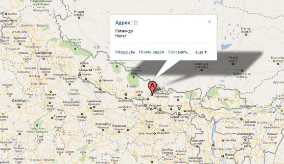Катманду на карте