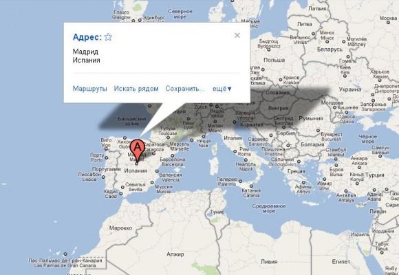 Мадрид на карте