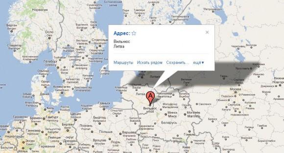 Вильнюс на карте