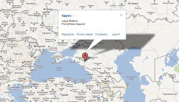 Адыгея на карте мира