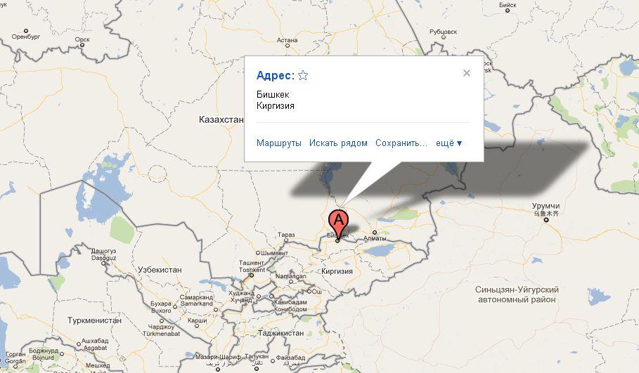 Карта Бишкека схематичная