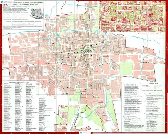 Карта Бишкека с номерами домов
