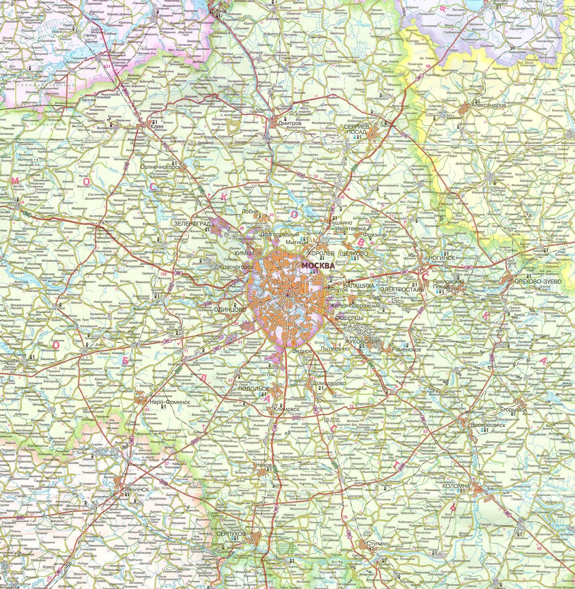 Карта Московской области. Карта Москвы и Московской ...