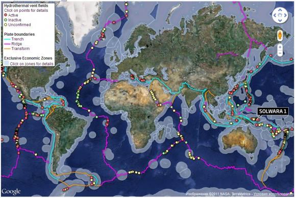 Карта гидротермальных источников