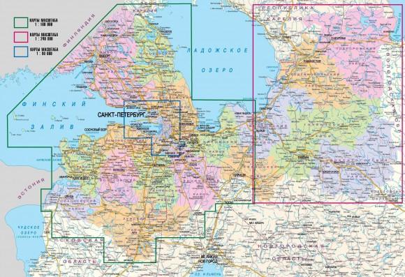Карта Ленинградской области по районам