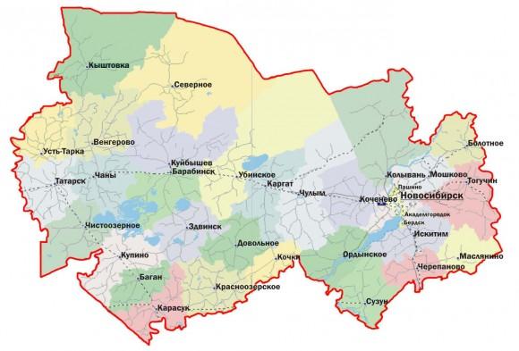 Карта Новосибирской области по районам