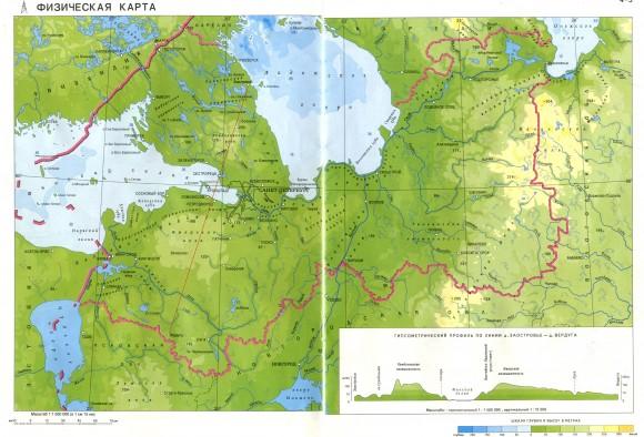 Озера Ленинградской области на карте