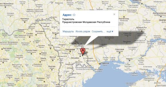 Приднестровская Молдавская Республика на карте