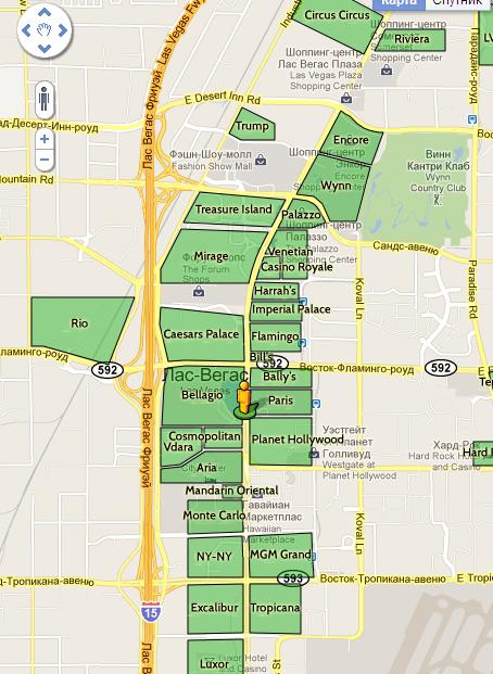 гостиницы Лас-Вегаса карта