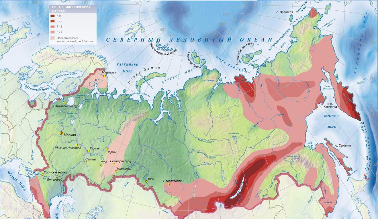 Землетрясения в россии карта