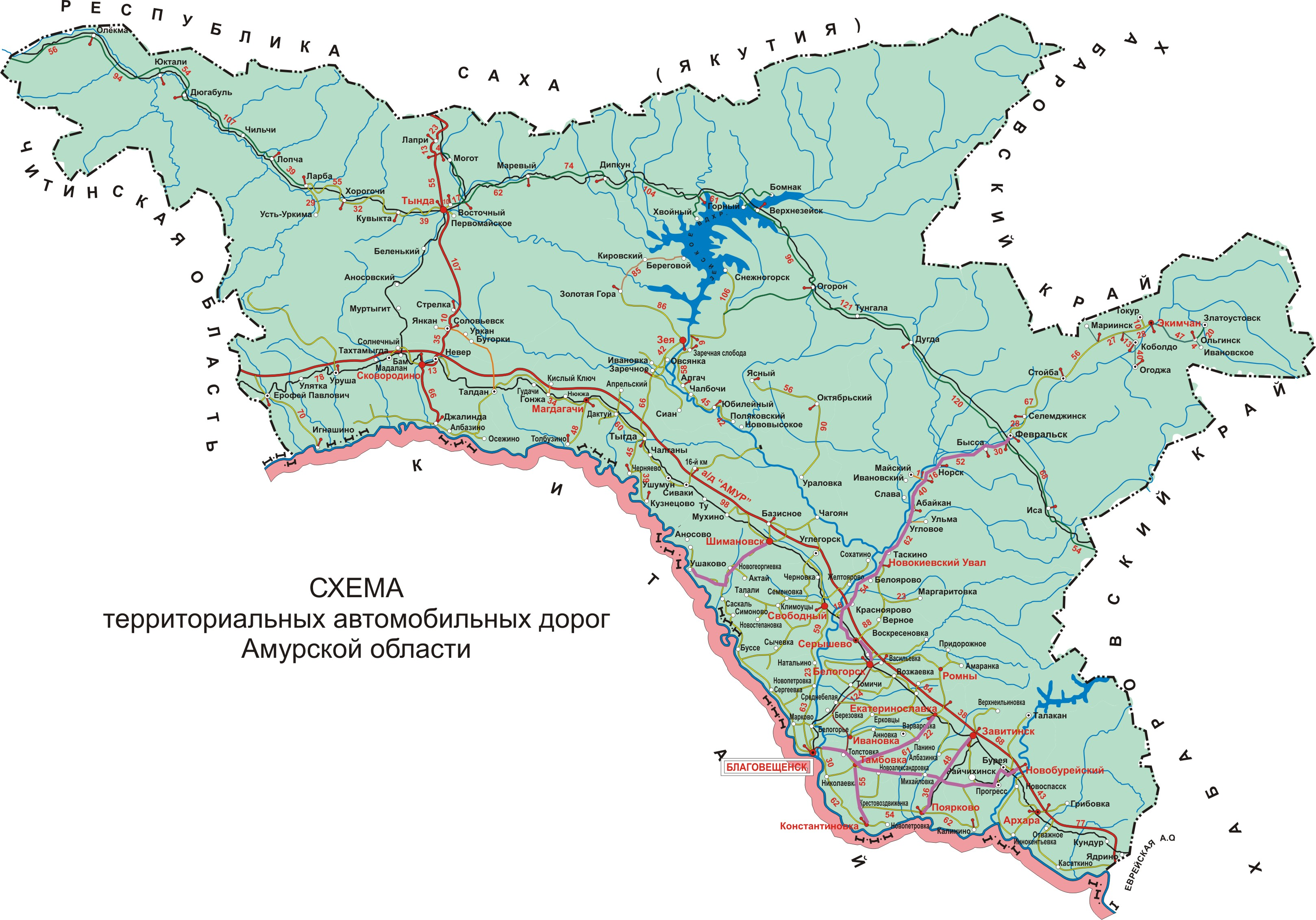 Карта городов и дорог Амурской области.