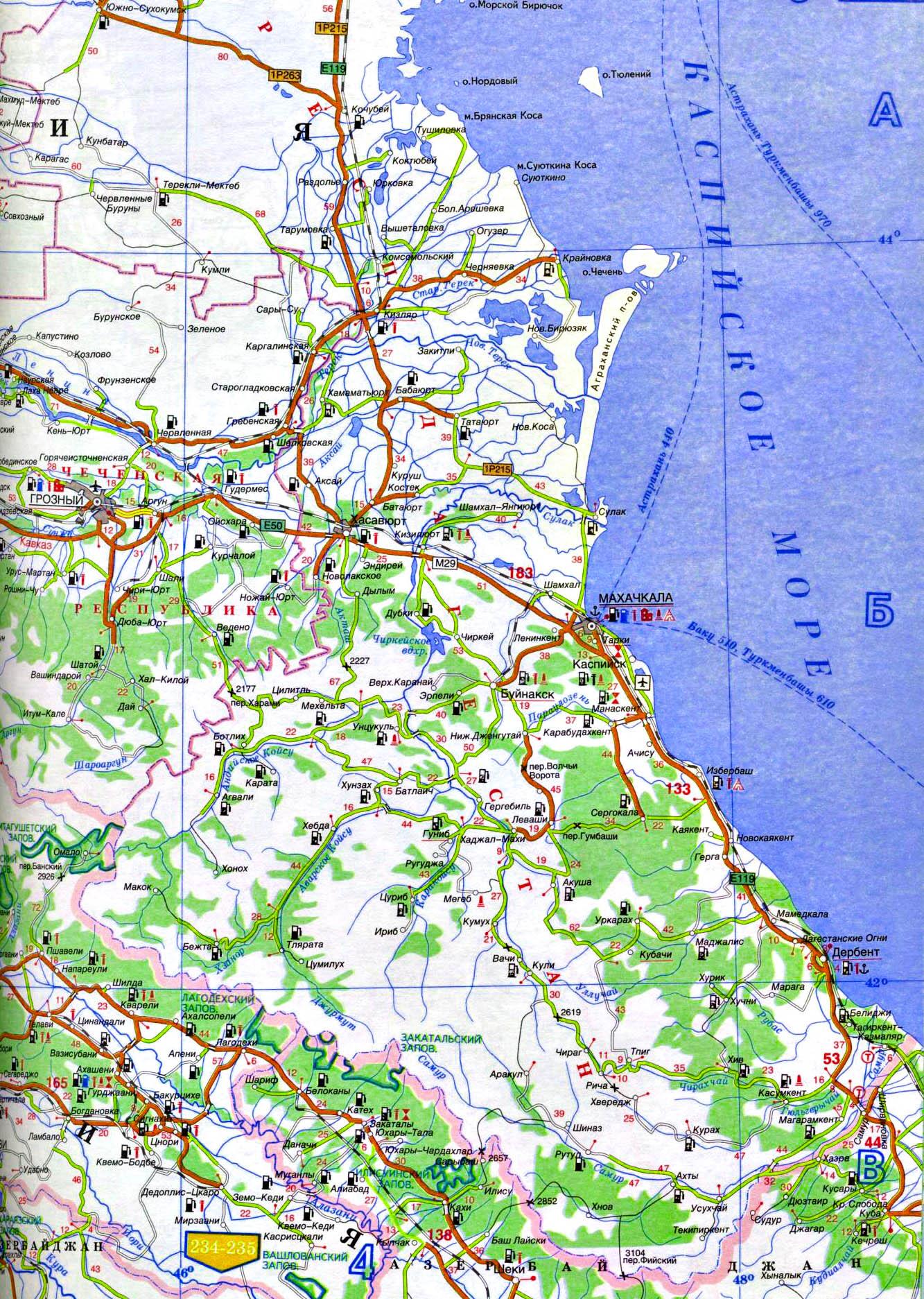 Карта дагестана подробная с дорогами