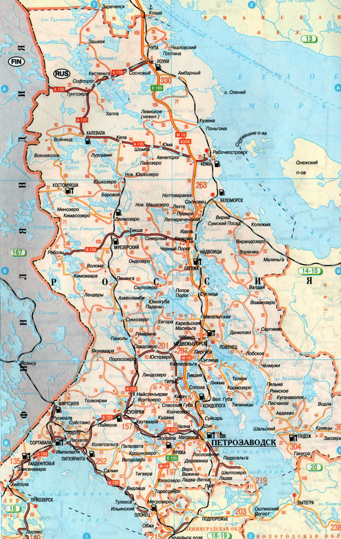 Карелия на карте России | Инфокарт – все карты сети: http://www.infokart.ru/kareliya-na-karte-rossii/