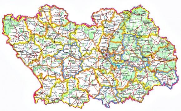 Области с севера на юг 204 км с запада