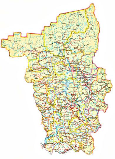 Карта пермского края с населенными пунктами скачать