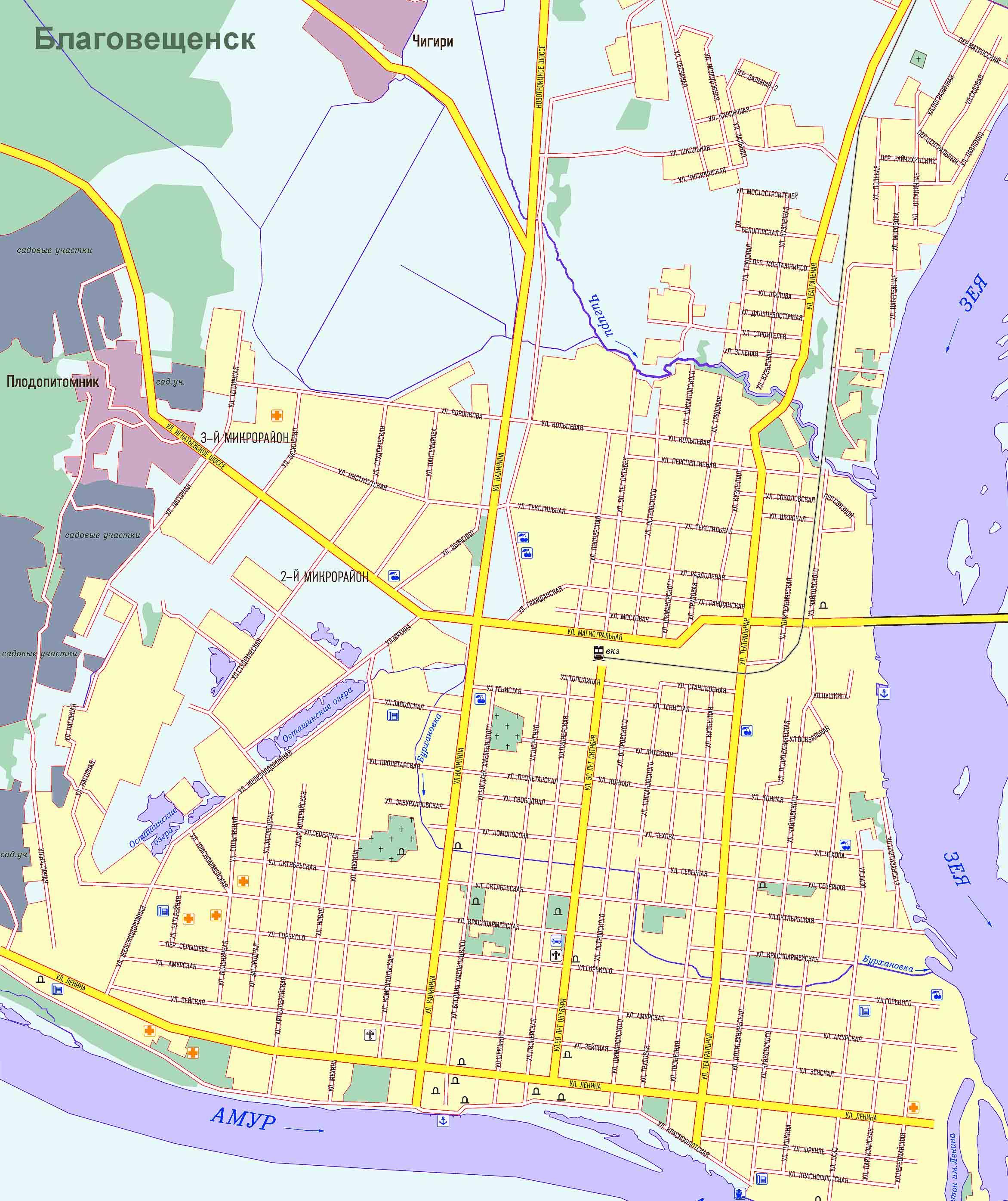 Карта Нового Уренгоя подробная: районы, названия