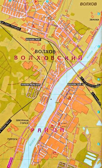 Карта Кировска подробная  улицы номера домов районы