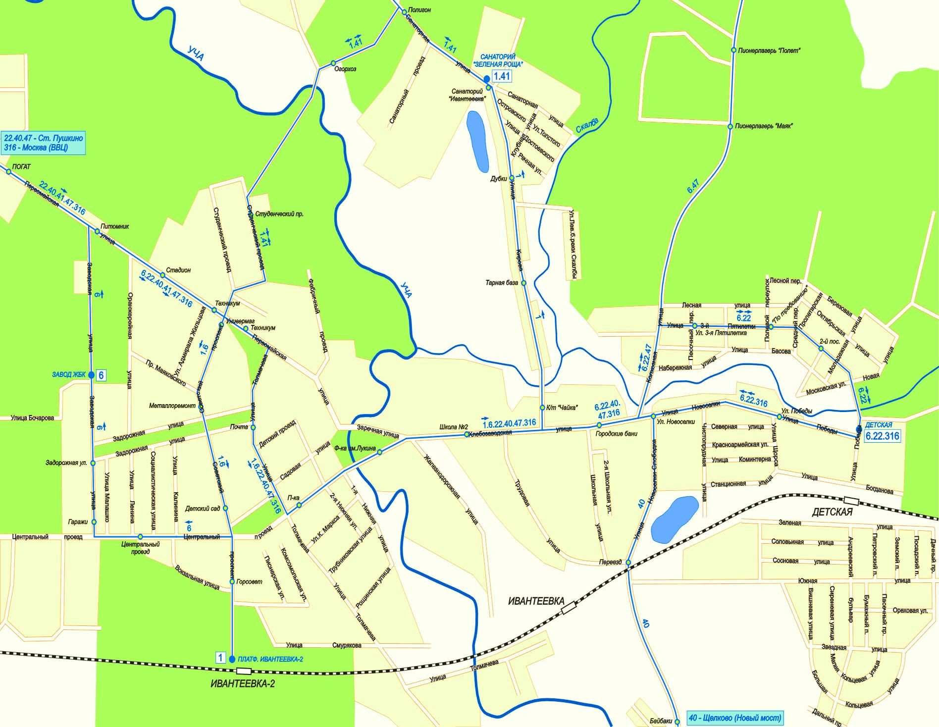 Карта города Ивантеевка, Московская область, ближайшие города
